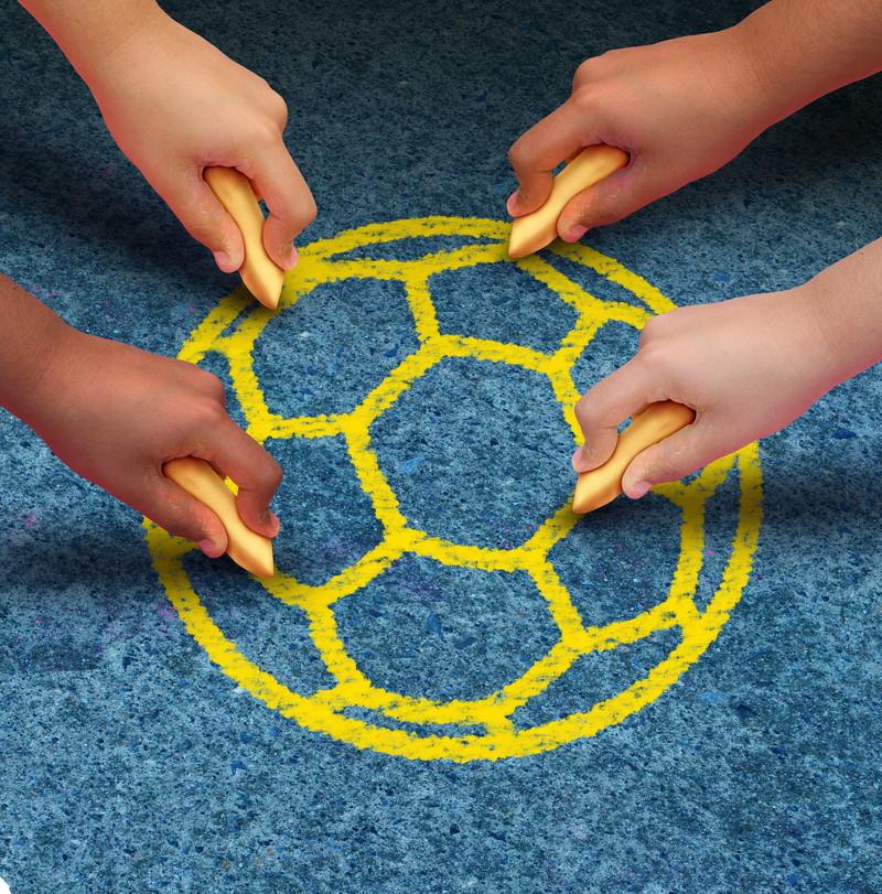 描かれたサッカーボール